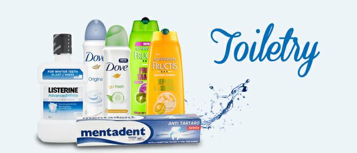 Toiletry: Garnier-Fructis, Dove, Listerine, Mentadent