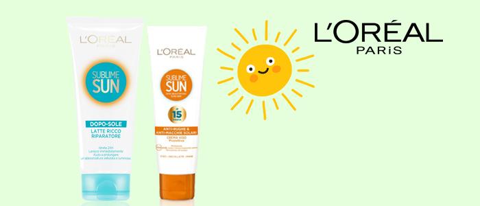 L'Oréal solari: crema viso e latte doposole