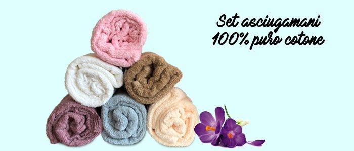 Set asciugamani 100% puro cotone