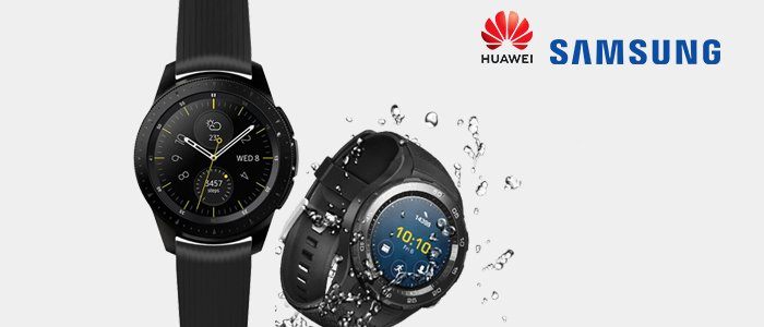 Samsung Galaxy Watch e Huawei Watch 2 Carbon Black
