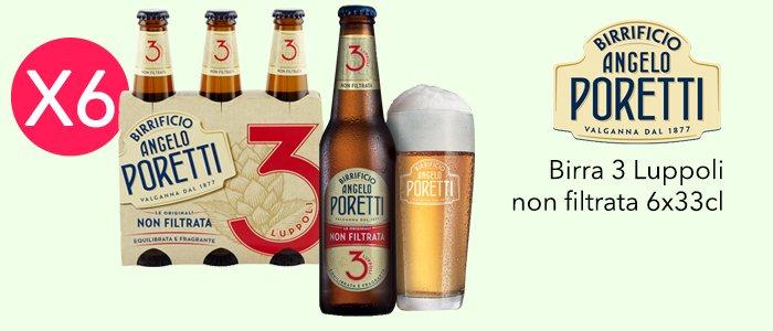 Angelo Poretti: Birra 3 Luppoli non filtrata 6x33cl