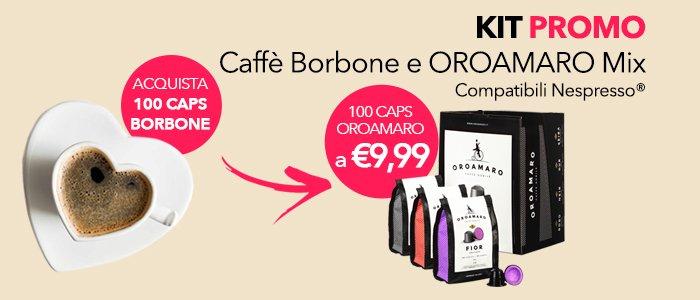 KIT PROMO: Acquista 100Caps di Caffè Borbone per te 100Caps di OROAMARO MIX a € 9,99