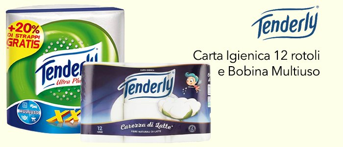 Tenderly: Carta Igienica Carezza di Latte 12 Rotoli e Bobina Multiuso XXL