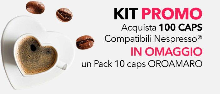 PROMO: Acquista 100 Caps. Compatibili Nespresso IN OMAGGIO un Pack 10 CAPS OROAMARO