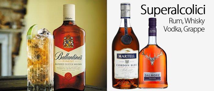 Superalcolici: rum, whisky, vodka e grappe