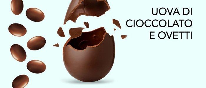 Uova di Pasqua e ovetti di cioccolato