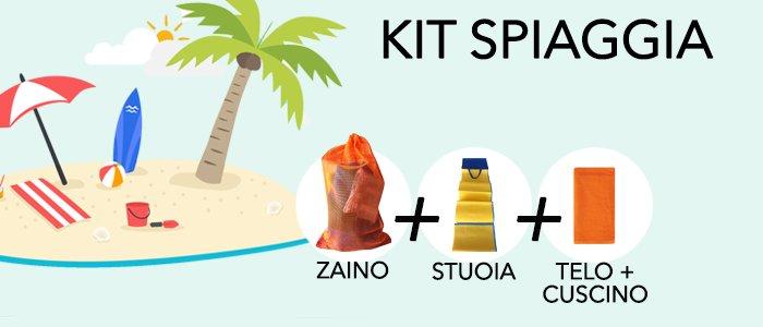 Kit Spiaggia: Telo, Cuscino, Stuoia e Zainetto