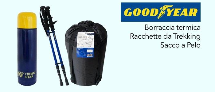 Goodyear: Borraccia termica, Racchette da Trekking e Sacco a Pelo